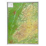 Georelief Mapa magnético Large 3D relief map of the Black Forest, in aluminium frame (in German)