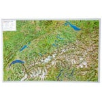 Georelief Harta magnetica Aerial view map of Switzerland (in German)