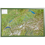 Georelief Mapa magnético Relief map of Switzerland with wooden frame (in German)