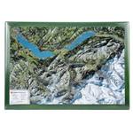 Georelief Oberland bernese, carta con cornice in legno (in tedesco)