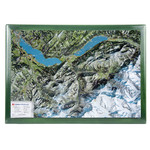 Georelief Regional-Karte Berner Oberland mit Holzrahmen