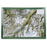 Georelief Carta magnética Map of the Upper Engadine in wooden frame (in German)