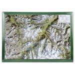 Georelief Regional-Karte Oberengadin mit Holzrahmen