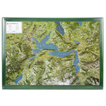 Georelief Map of Lake Lucerne in wooden frame (in German)