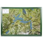 Georelief Regional-Karte Vierwaldstättersee mit Holzrahmen