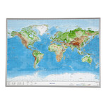 Georelief Harta magnetica Large 3D relief map of the world (in German)