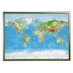Georelief Weltkarte Welt groß, 3D Reliefkarte mit Holzrahmen