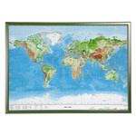 Georelief World map, large 3D relief map with wooden frame (in German)