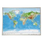 Georelief Weltkarte Welt groß, 3D Reliefkarte mit Alu-Rahmen