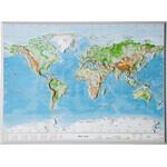 Georelief Weltkarte Welt klein, 3D Reliefkarte
