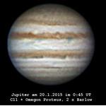 Il gigante di gas Giove, ripreso con un telescopio C11, lente di Barlow 2x e filtri RGB.