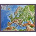 GEO-Institut Continent map Reliefkarte Europa Silver line physisch
