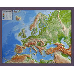GEO-Institut Mapa de continente Silver line physical relief map of Europe (in German)