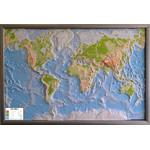 GEO-Institut World map Weltkarte Reliefkarte Welt Silver line physisch Russisch