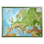 Georelief Europa, carta in rilievo grande con cornice in legno, INGLESE