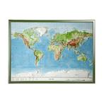 Georelief Carte relief 3D géographique du Monde, grand format avec cadre en bois