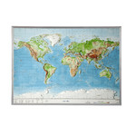 Georelief Mapa magnético World relief map, large, 3D, with aluminium frame