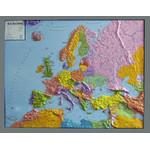 GEO-Institut Continent map Kontinent-Karte Reliefkarte Europa Silver line politisch