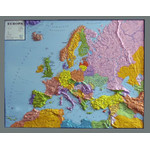 geo-institut Mapa continental de , mapa en relieve de Europa, línea Silver, político
