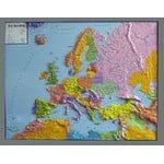 geo-institut Mapa de continente GEO Institute Silver line continental political relief map of Europe (in German)