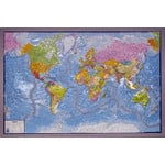 GEO-Institut Mapa mundial GEO Institute Silver line world political relief map (in German)