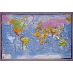 geo-institut Mapa mundial world map raised relief Silver line political Swedish
