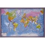 geo-institut Mapa świata world map raised relief Silver line political Swedish