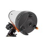 Das für die Astrofotografie optimierte Teleskop hat keinen Okularauszug, aber den für SC-Teleskope typischen Fokussierknopf.