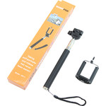 Aluminium-Einbeinstativ Selfie-Stick für Smartphones und kompakte Fotokameras, schwarz