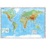 Stiefel Weltkarte physisch mit Flaggenrand (95x62)