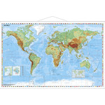Stiefel Mapa mundial World physical map with metal strip (in German)