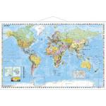 Stiefel Weltkarte politisch mit Metallleisten