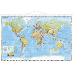 Stiefel Weltkarte politisch mit Metallleisten Englisch