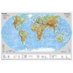 Stiefel Weltkarte Erde physisch mit Metallleisten