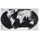 Stiefel Mapamundi Mapa físico del mundo, edición plateada con guías metálicas