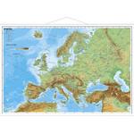 Carte des continents Stiefel Europe physique avec cadre en métal