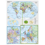 Stiefel Mapa Map of Germany and Europe in the World (in German)