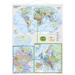 Carte géographique Stiefel L'Allemagne et l'Europe dans le monde avec cadre en métal