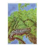 Carte géographique Stiefel Les pays germanophones Panorama avec cadre en métal