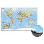 Stiefel Mapamundi Mapa del mundo con ampliación de Europa Central sobre cartón de nido de abeja para clavar