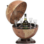 Zoffoli Bar Globo terráqueo Desktop globe with drinks compartment, Galileo Rust