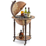 Zoffoli Bar em globo Globe on stand with castors and drinks compartment, Da Vinci rust