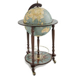 Zoffoli Globo terráqueo de pie Stand globe with castors and drinks compartment, Da Vinci Blue Dust