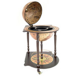 Zoffoli Cocktail bar table with globe containing drinks compartment, Caravaggio Rust