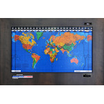 Geochron Original Kilburg world map in alder real wood veneer with espresso finish and black bordering