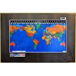 Geochron Original Kilburg wereldkaart, uitvoering in echt elzenhout, espresso afwerking, met zilverkleurige sierlijst (Engels)