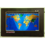 Geochron Original Kilburg world map in alder real wood veneer with espresso finish and gold bordering