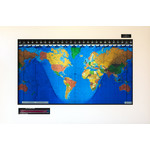 Geochron Original Kilburg world map in alder real wood veneer with Modern White finish and black bordering