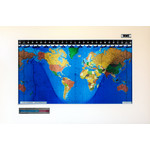 Geochron Original Kilburg world map in alder real wood veneer with Modern White finish and silver bordering