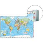 Stiefel World map Weltkarte auf Platte zum Pinnen und magnethaftend (englisch)